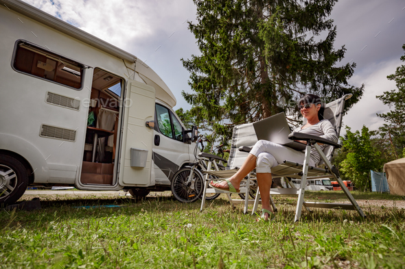 Family vacation travel, holiday trip in motorhome RV - Stock Photo - Images