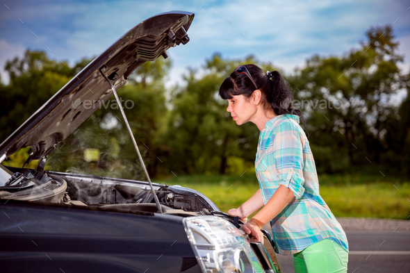 Damage to vehicle problems on the road. - Stock Photo - Images