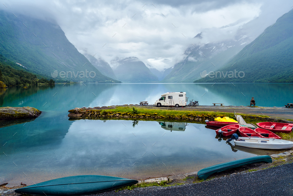 Family vacation travel RV, holiday trip in motorhome - Stock Photo - Images