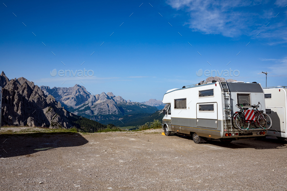 Family vacation travel, holiday trip in motorhome VR - Stock Photo - Images
