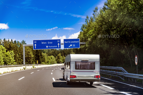 VR Caravan car travels on the highway. - Stock Photo - Images