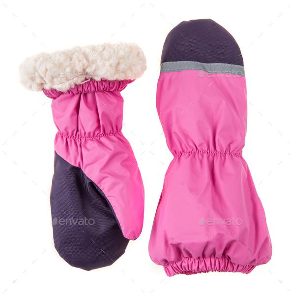 Children's autumn-winter mittens - Stock Photo - Images