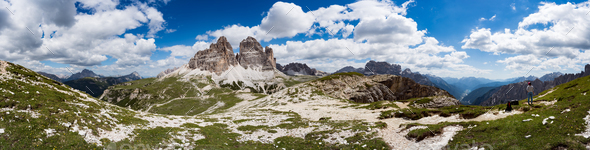 Panorama National Nature Park Tre Cime In the Dolomites Alps. Be - Stock Photo - Images