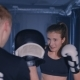 Young Woman Training with a Coach in a Boxing Club. In Smoky Dark Gym - VideoHive Item for Sale