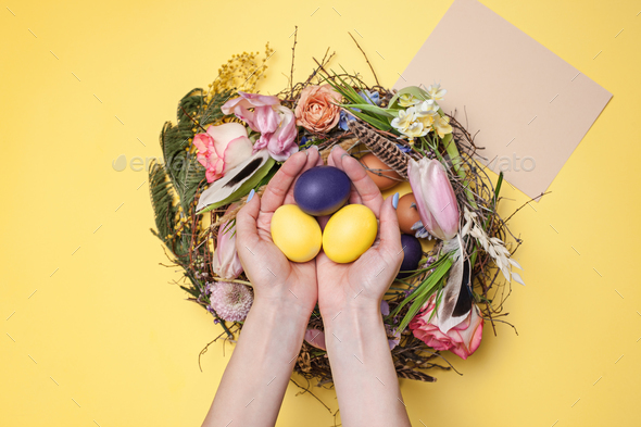 Easter card. Painted Easter eggs in nest on yellow background - Stock Photo - Images