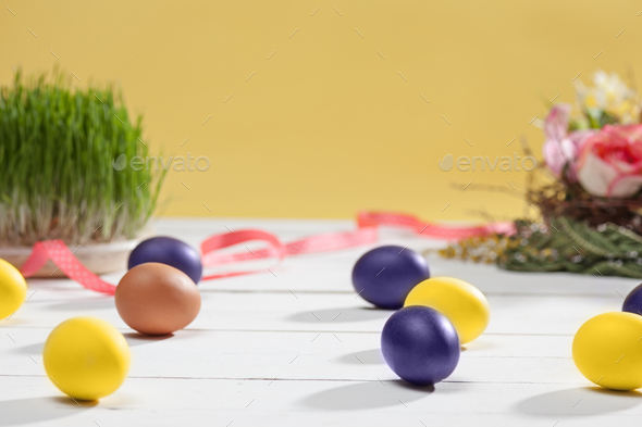 Beautiful easter table setting composition. - Stock Photo - Images