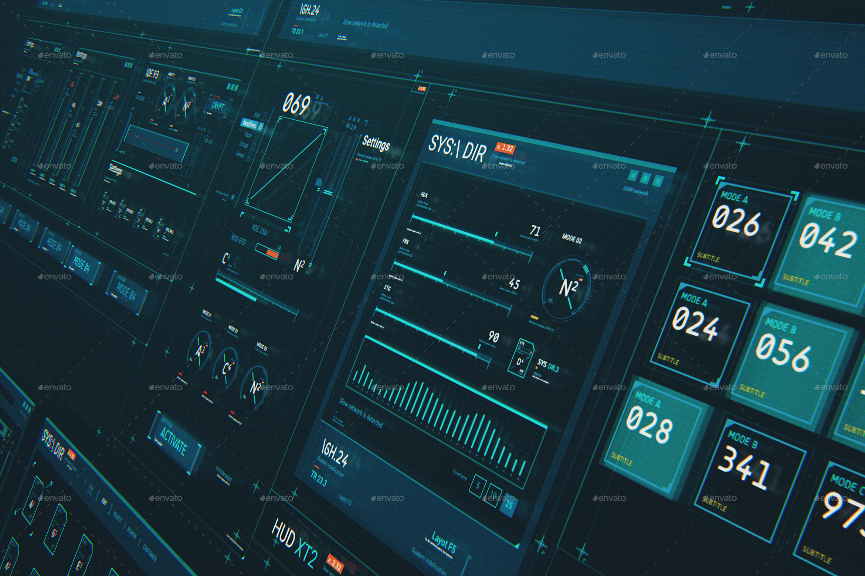 Futuristic HUD Interface XT2: Sci-Fi UI Elements