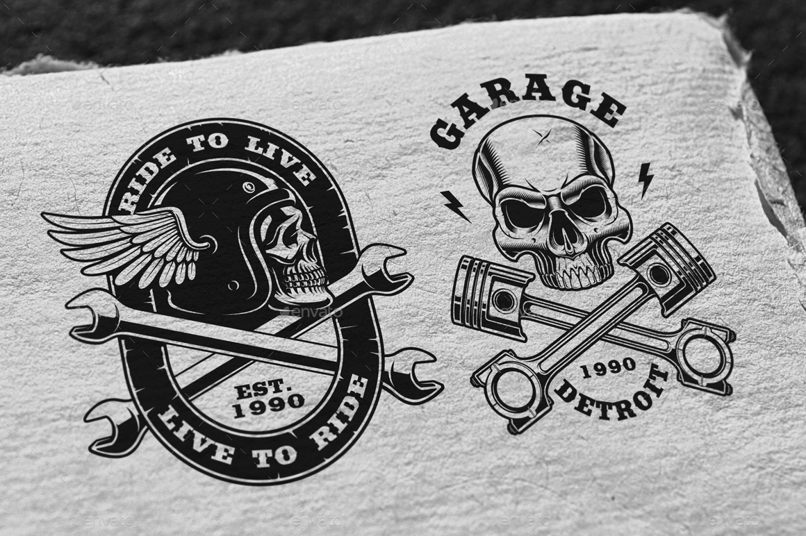 Vintage Biker Skulls Pack