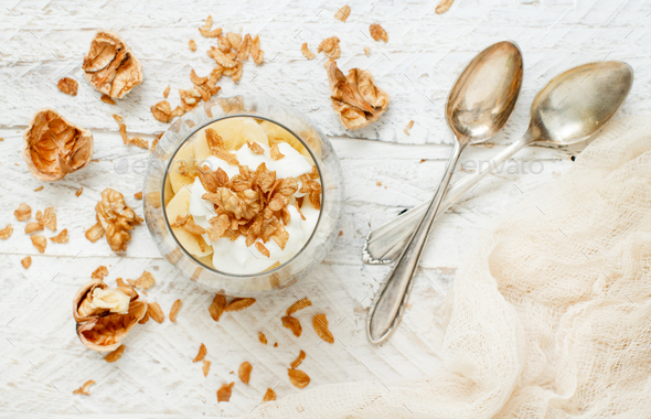 Chia pudding parfait with banana - Stock Photo - Images