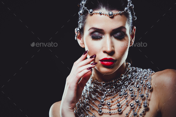fashion woman with perfect skin wearing dramatic makeup - Stock Photo - Images
