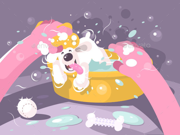Bathing Dog in Basin with Water - Miscellaneous Vectors