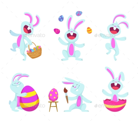 Easter Rabbits in Cartoon Style - Animals Characters