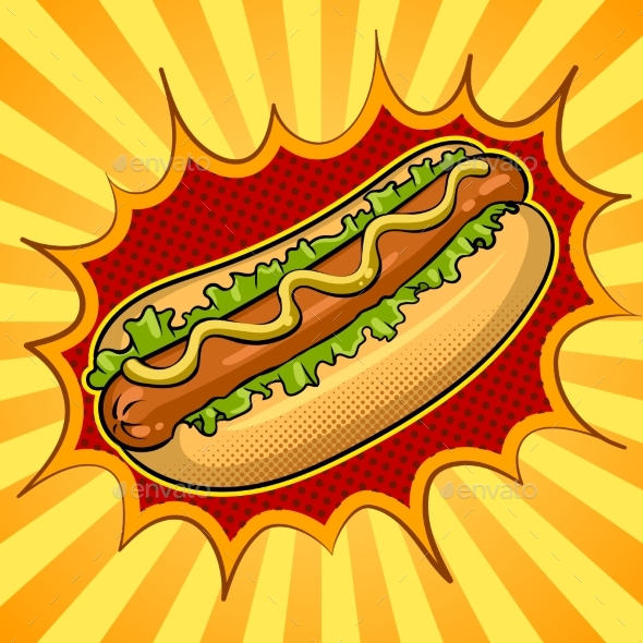 Hot Dog Pop Art Vector Illustration - Food Objects