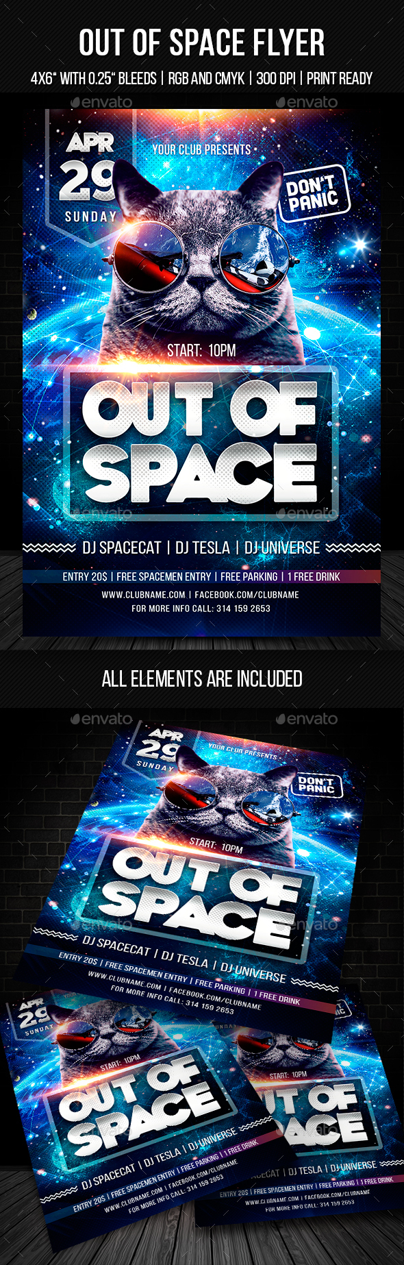 Out of Space Flyer Template - Clubs & Parties Events