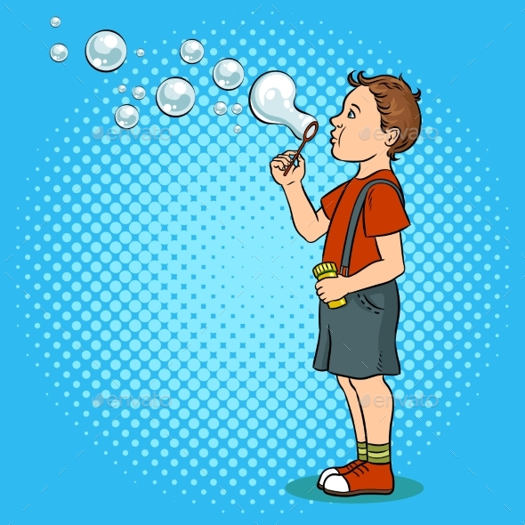 Child Blowing Bubbles Pop Art Vector Illustration - People Characters