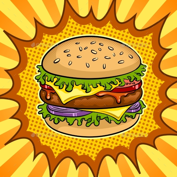 Burger Sandwich Pop Art Vector Illustration - Food Objects