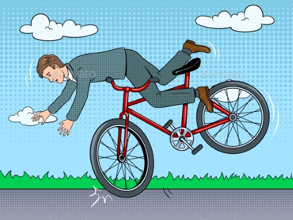 Man Falling Off Bicycle Pop Art Vector Illustration - People Characters