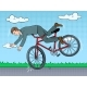 Man Falling Off Bicycle Pop Art Vector Illustration