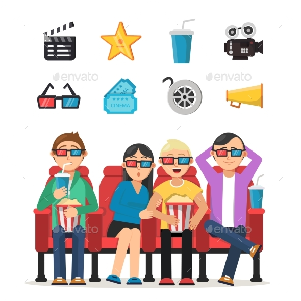 Characters Set of Peoples Watching Film  - People Characters