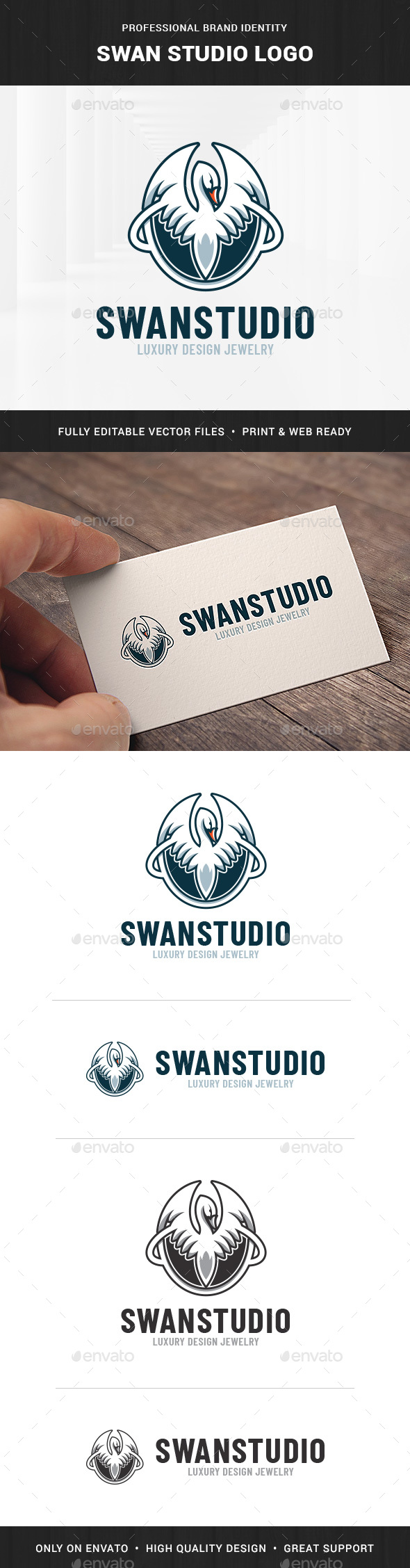Swan Studio Logo Template - Animals Logo Templates