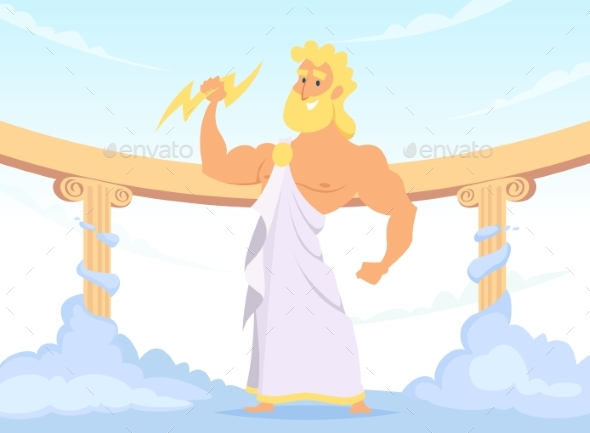 Zeus Greek Ancient God of Thunder and Lightning - Characters Vectors