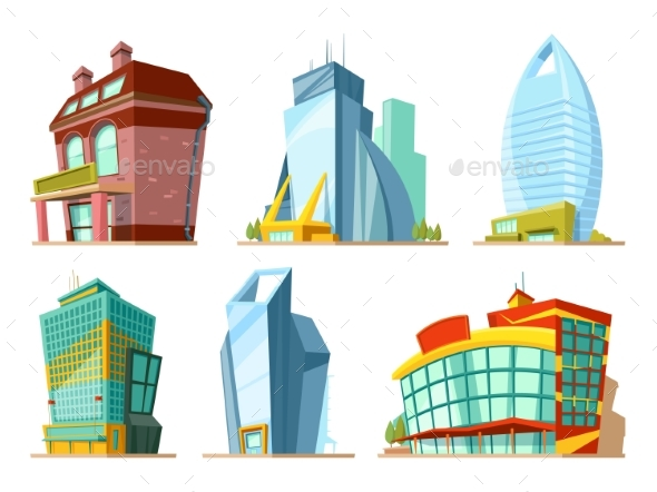 Set of Different Modern Buildings in Cartoon Style - Buildings Objects