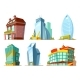 Set of Different Modern Buildings in Cartoon Style - GraphicRiver Item for Sale