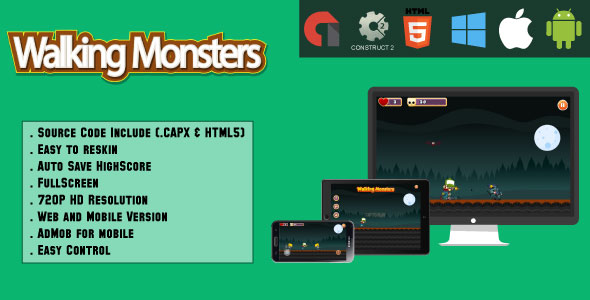 Walking Monsters - HTML5 Game - Mobile & Web (.CAPX & HTML) - CodeCanyon Item for Sale