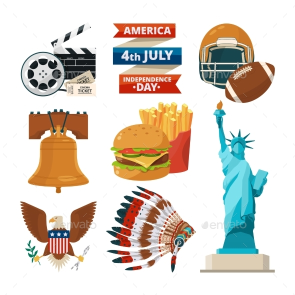 Culture Objects of Americans Usa. Vector - Objects Vectors