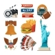 Culture Objects of Americans Usa. Vector