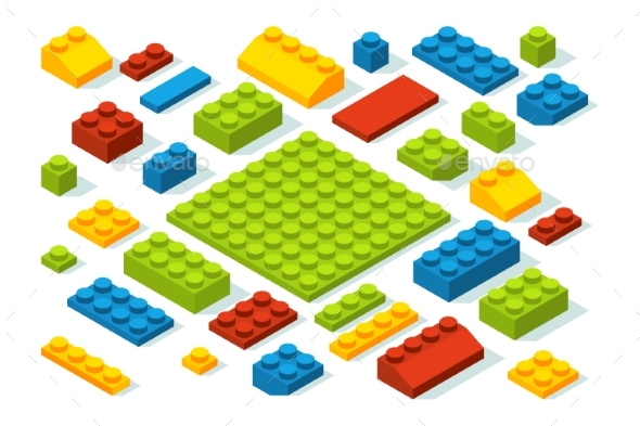 Isometric Constructor Blocks at Different Colors - Man-made Objects Objects