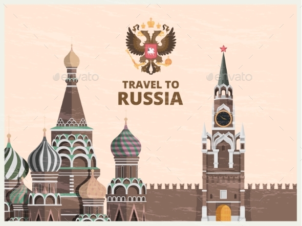 Vintage Poster or Travel Card with Illustrations - Buildings Objects