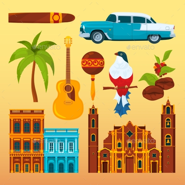 Havana Cigar and Others Differents Cultural - Objects Vectors