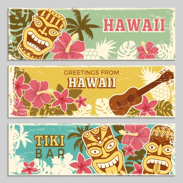 Horizontal Banners Set with Hawaii Illustrations - Backgrounds Decorative