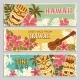 Horizontal Banners Set with Hawaii Illustrations