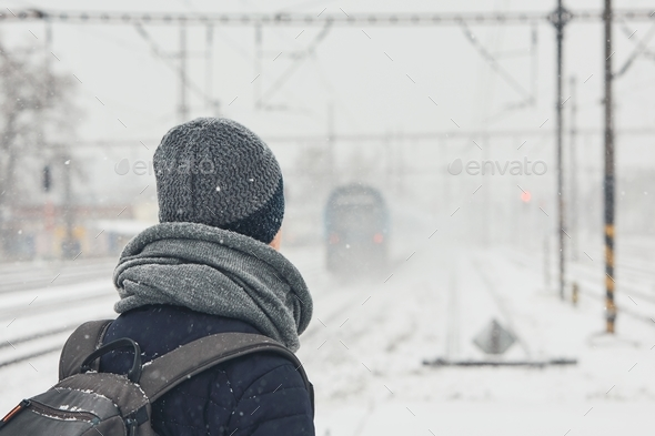 Railway in winter - Stock Photo - Images