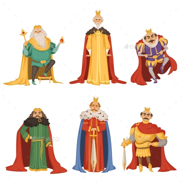 Cartoon Characters of Kings in Different Poses - People Characters
