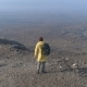 One Man Walking on the Fog Mountain - VideoHive Item for Sale