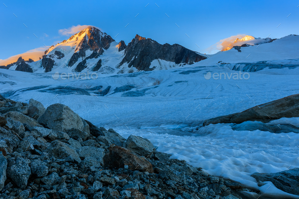 glacier du Tour in sunrise. French Alps - Stock Photo - Images