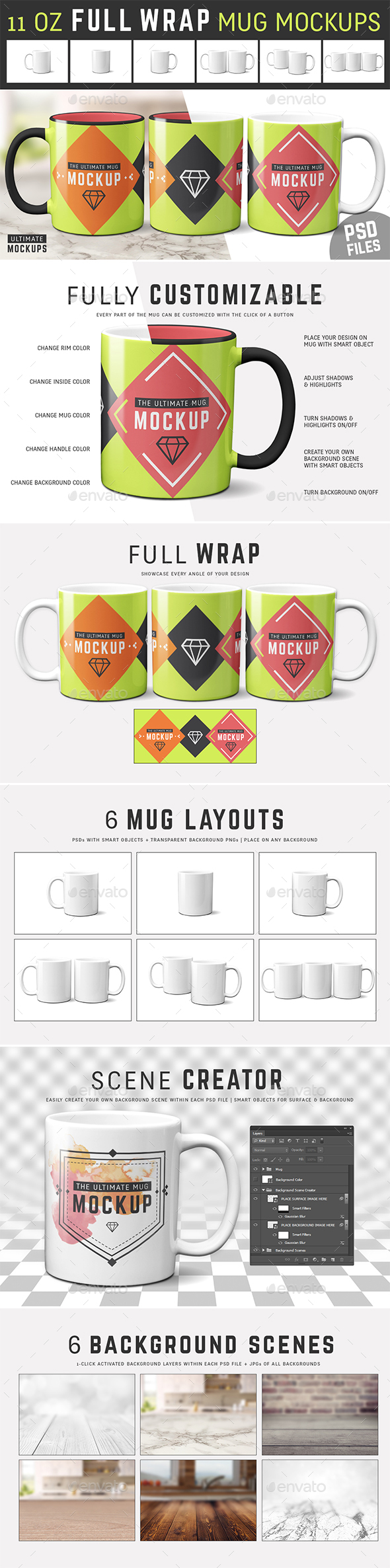 11 oz Full Wrap Mug Mockup Templates - Food and Drink Packaging