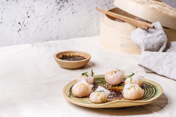 Asian steam dumplings - Stock Photo - Images