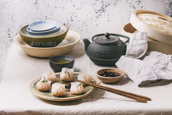 Asian steam dumplings - Stock Photo - Images