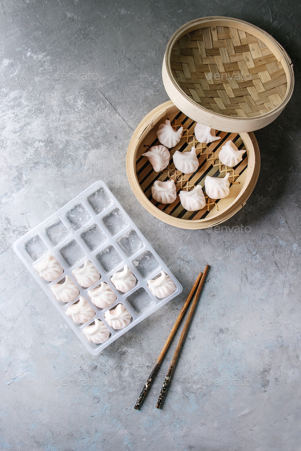 Frozen Asian steam dumplings - Stock Photo - Images
