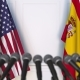 Flags of the USA and Spain at International Press Conference - VideoHive Item for Sale