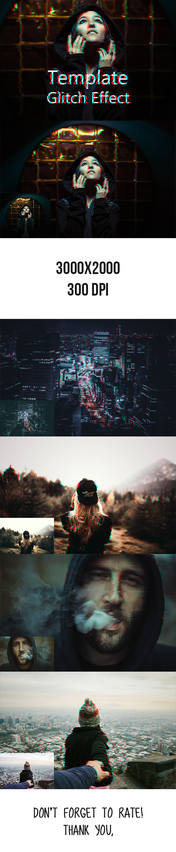 Glitch Effect PSD Template - Photo Effects Actions