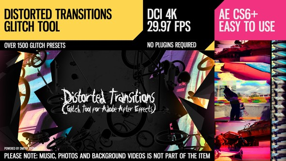 Videohive Distorted Transitions (Glitch Tool) 18524764