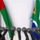 Flags of the UAE and South Africa at International Press Conference - VideoHive Item for Sale