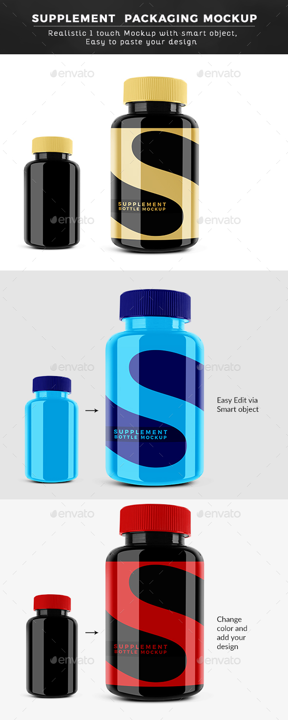 Glossy Supplement Pills Bottle Mockup - Miscellaneous Packaging