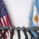 Flags of the USA and Argentina at International Press Conference - VideoHive Item for Sale