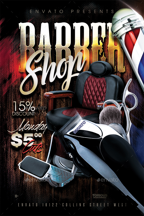 barbershop flyer template by take2design graphicriver